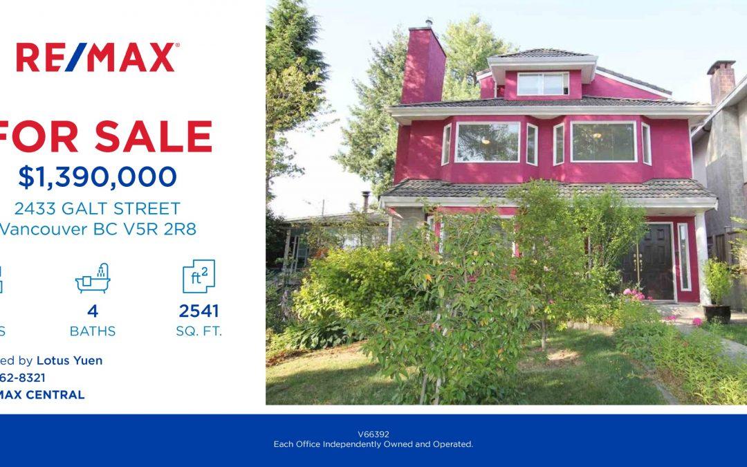 2433 GALT STREET Vancouver Real Estate for Sale