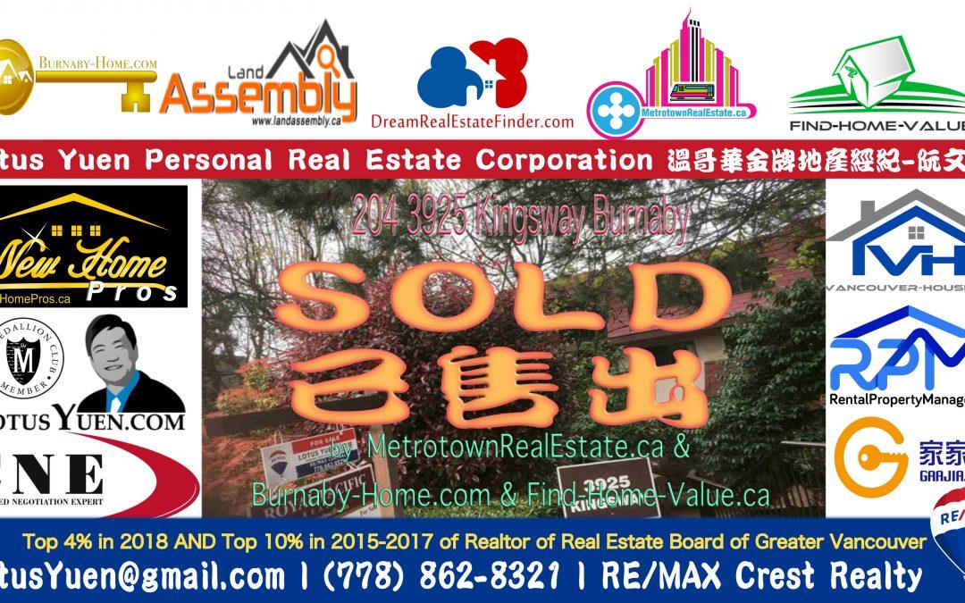 Metrotown Condo SOLD : 204 3925 Kingsway, Burnaby