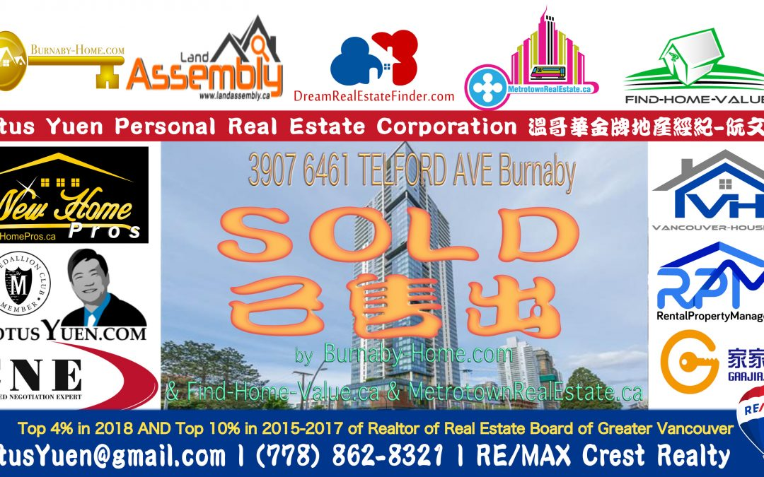 Metrotown Condo SOLD : 3907 6461 Telford, Burnaby