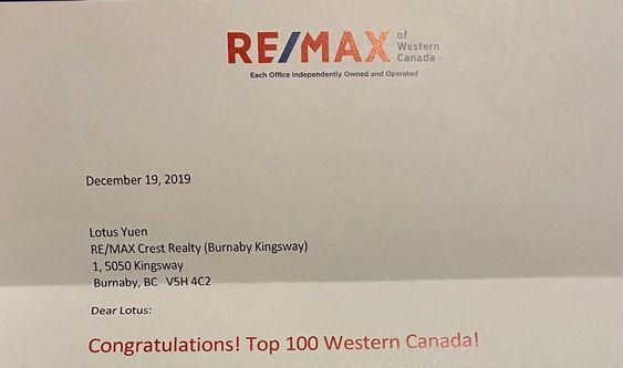 RE/MAX WESTERN CANADA TOP 100 REAL ESTATE AGENT in Nov 2019