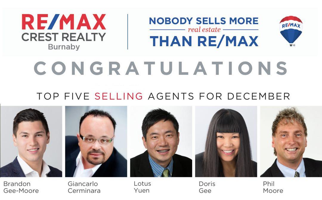 REMAX Crest Realty Top 5 Realtor in Dec 2019 – Lotus Yuen PREC