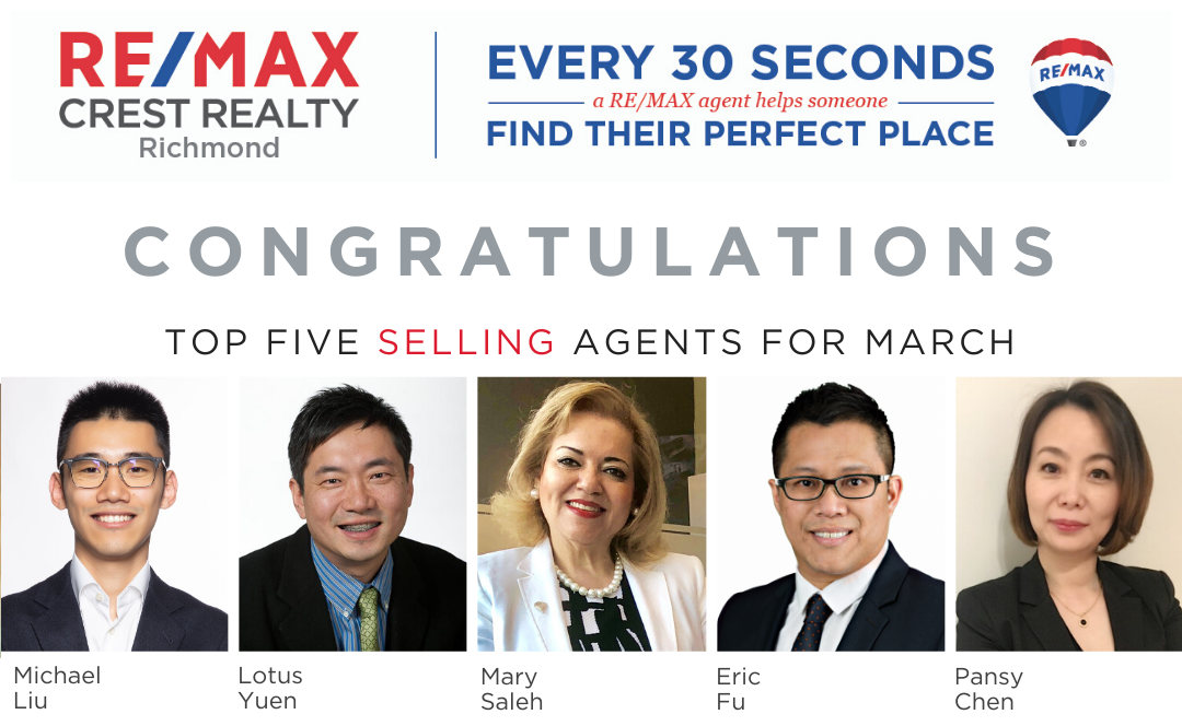 REMAX Crest Realty Top 5 Selling Realtor in March 2020